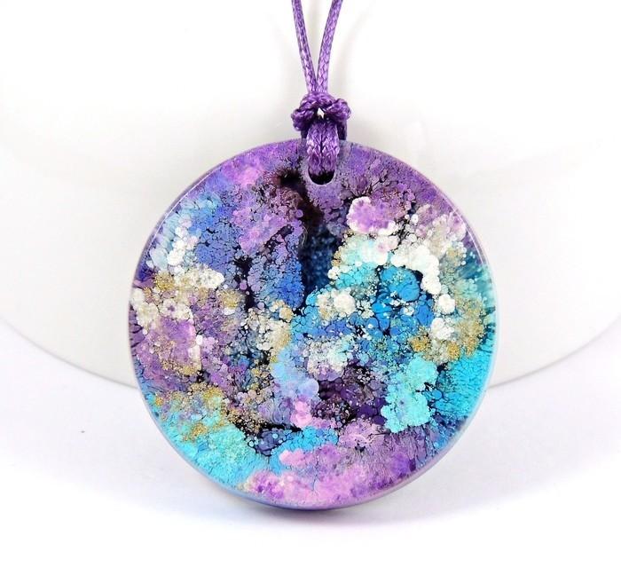 Round silver pendant swirls multi-color pendant Metal pendant tye die pendant painted pendant alcohol ink pendant colorful pendant