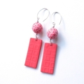 Coral crackle and embossed drop sterling and polymer clay earrings