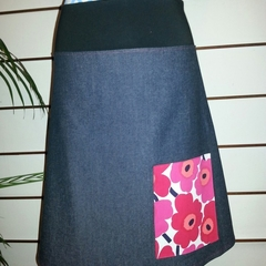Denim Skirt with Marimekko flowers &  Bamboo Stretch Waist