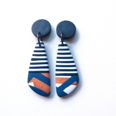 Stripe mini nautical navy gold and white drop polymer clay earrings