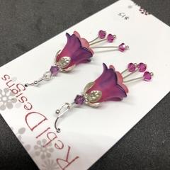 Deep Purple & Pink Flower Earrings