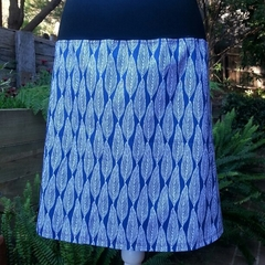 Blue & White Leaf Skirt with Bamboo Stretch Waist