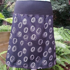 Black & White Spiral Skirt with Bamboo Stretch Waist
