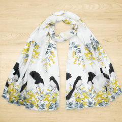 Willy Wagtail and Australian Wattle Flower Scarf, Australian Bird Flora Scarves