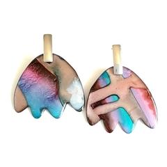 RESERVED LISTING Resin Art Earrings