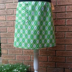 Green and White Skirt with Bamboo Stretch Waist