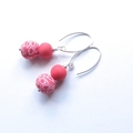 Coral crackle drop sterling and polymer clay earrings