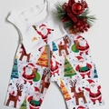 "New Born - ""Jolly Santa"" Christmas Harem Pants & Appliqued Singlet"