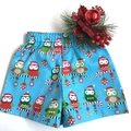 "Size 1 - ""Xmas Owls"" Christmas Shorts"