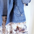 Refashioned Womens Chambray Shirt Draped Tunic Jacket | Sz L 16