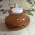 Silky Oak Tea-light Holder with Two Gouged Rings (Item SO 098)