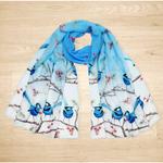 Australian Splendid Fairy Wren, Blue Wren Scarf