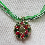 Christmas Wreath Pendant Necklace