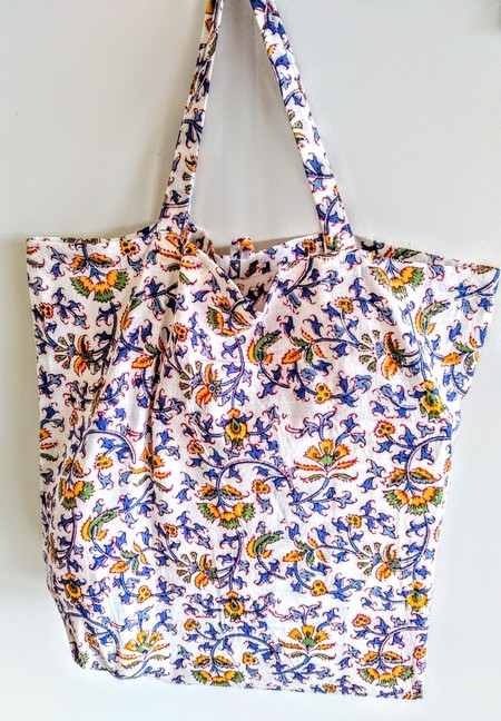 Foldable eco bag / WHITE - Flower / FREE SHIPPING