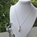 Swarovski gold angel pendant, Sterling Silver, necklace