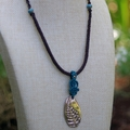 Aqua,Solid Bronze Fern Necklace with Ceramic Beads