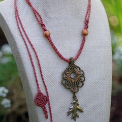 Mandala Necklace with Bronze Oak Leaf