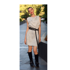 Fabulous light grey knee length dress with vegan black belt. Size S. AU Size 8.