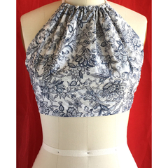 Vegan Designer Summer festival halter neck tie top. Size S to M.