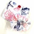 foldable eco bag + scrunchie  set / WHITE - beach / gift for beach lover