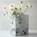 Mosaic vase in blue and white