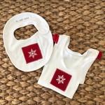 Christmas Snowflake singlet and bib pompom baby girl size 00