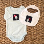 Pirate onesie and bib set blue boys size 00