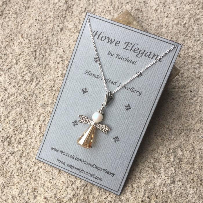 49f191f2f Swarovski gold angel pendant, Sterling Silver, necklace   Howe Elegant &  Sassy   madeit.com.au