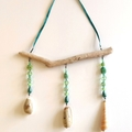 Green Seashell Sun Catcher Mobile Hanging Art