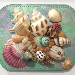 Large Sailors Valentine Seashell Fridge Magnet