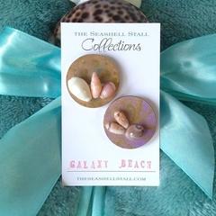 "Seashell Fridge Magnet Duo - ""Galaxy Beach"" Collection"
