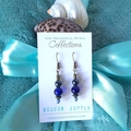 """Blue Glass Bead Earrings - """"Beaded Jewels"""" Collection"""