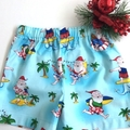 "Size 3 - ""Santa Surfs Up"" Christmas Shorts & Appliqued Singlet"