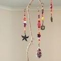 Seashell Sun Catcher Tree Mobile Hanging Seashell Art Red/Orange