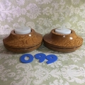 Two Silky Oak Tea-Light Holders (Item SO 099)