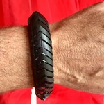 Vegan bicycle inner tube bracelet. Size M/S