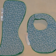 INCL. POST Small Burp Cloth & Bib Set Laminated Minky & 100% Cotton Print Fabric