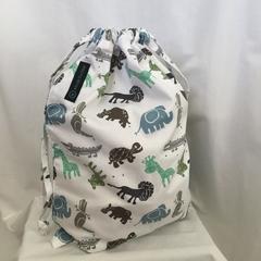 'JUNGLE SAFARI' Drawstring Bag / School Library or Kindy Sheet Bag