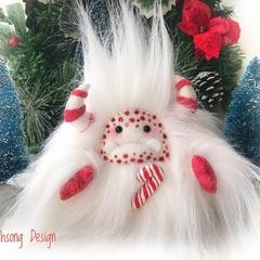 "Christmas plush yeti artist bear, Special Edition Candy Cane Yeti ""Mintie"""