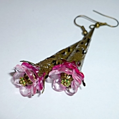 Pink and bronze vintage style earrings