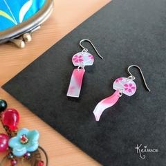 Japanese Wind Chime Drop Earrings (Pink Sakura) - Hand-painted Kawaii Furin