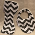 INCL. POST Small Burp Cloth & Bib Set  Bamboo Terry  & 100% Cotton Print Fabric