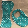 Small Burp Cloth & Bib Set INCL POST Bamboo Terry  & 100% Cotton Print Fabric