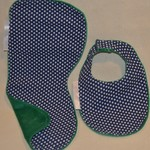 Large Burp Cloth and Bib Set/100% Cotton Print Fabric/Laminated/Minky/Waterproof