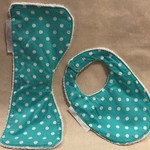 Burp Cloth & Bib Set/Bamboo Terry/Waterproof Layer/100% Cotton Print Fabric
