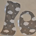 Burp Cloth and Bib Set/Small/Bamboo Terry/100%Cotton Print Fabric/PUL waterproof