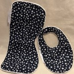 Burp Cloth and Bib Set/Bamboo Terry/100% Cotton Print Fabric/PUL Waterproof