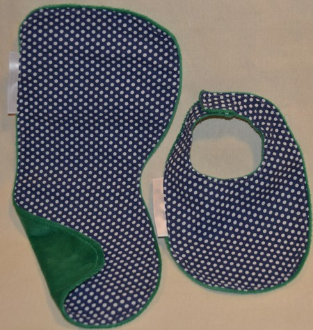 INCL. POST Large Burp Cloth & Bib Set Laminated Minky & 100% Cotton Print Fabric