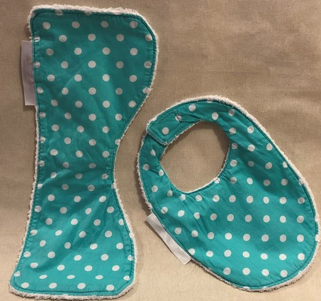 Small Burp Cloth & Bib Set made from Bamboo Terry  & 100% Cotton Print Fabric