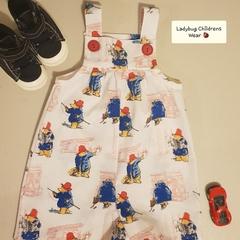 """Paddington Bear"" short leg overalls, with snap crotch. Size 000"